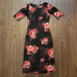 Rags to Wishes Mesh Floral Midi Dress.